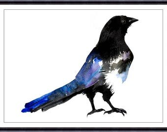 Magpie  Art Print  From Original Watercolor,  Home Decor Wall Art, Crow Wall Decor Art Print 039