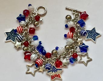 July 4th Charm Bracelet with Red, White and Blue Beads and Rhinestone Star Charms