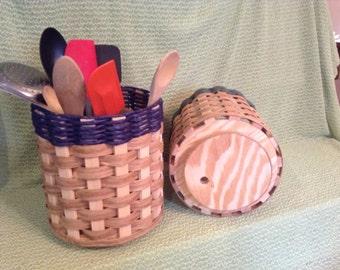 Large Hand Woven Revolving Kitchen Utensil Basket