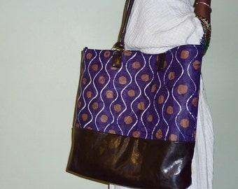 Large handbag/weekender in purple custom-handmade African batik
