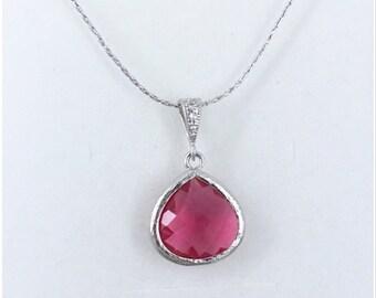 Bridesmaids Necklace, Glass Stone and Cubic Zirconia Jewelry, Bridesmaids Gift, Fuchsia Necklace, Bridesmaid Jewlery, Budget Jewelry