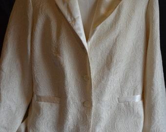 Vintage Women's Perceptions Long White Patterned Blazer (Size: 14W)