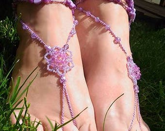 Barefoot pink sandals summer ankle jewellery