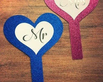 Mr & Mrs game props glitter with hot foil wedding party's
