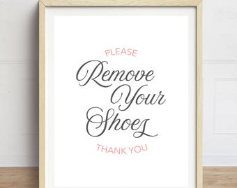 Remove Shoes Sign, Leave Your Shoes at the Door Sign, Please Remove Your Shoes Thank you, Hallway Art, Entranceway Sign, Foyer Sign