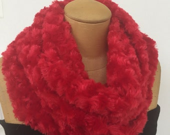 Red Plush Fleece Infinity Scarf. Rosebud Faux Fur Circle Scarf. Women's Microfiber Infiniti Scarves. Winter Circle Scarves.
