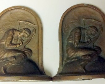 "Vintage 1932  K & O Kronheim and Oldenbusch  Polychrome ""Lost Hope"" Bookends"