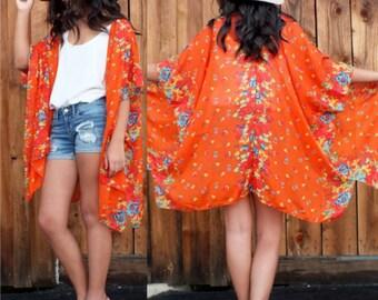 Vibrant Orange Boho Tunic Swimsuit Cover Floral Print Sheer Duster Gauze Cotton Fabric Caftan Kimono Top Cardigan Onesize SML Plus Size