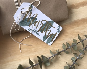 Greenery Bridesmaid Gift Tags - Bridesmaids Gift - Wedding - Modern Calligraphy - Watercolor