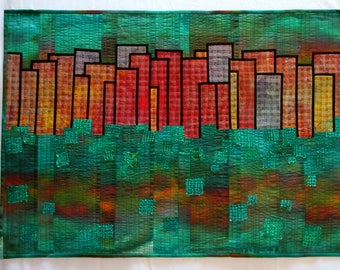 Art quilt,reflection #4. wall hanging, abstract quilt, Colorful art, hand made. picture.