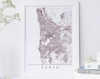 PERTH MAP - Minimalist Perth Art Print, Customizable City Map, High Quality Giclee Print, Modern Map Art