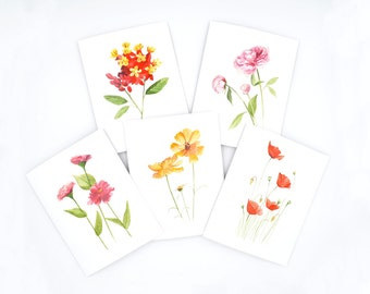watercolor notecards - watercolor flower notecards - watercolor floral illustration - watercolor botanical notecard set - floral notecard