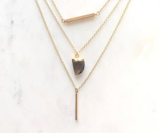 Layered Necklace, Gold Layering Necklace, Gemstone Necklace, Geode Necklace, Dainty Necklace, Bar Necklace, Minimal Necklace  AEFAAP