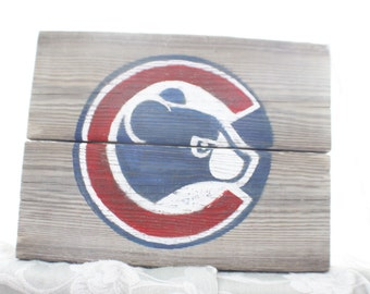 Ready to ship - Chicago Cubs, chicago cubs sign, Cubbies sign, reclaimed wood, handpainted cubs sign, chicago cubs home decor, gift for him