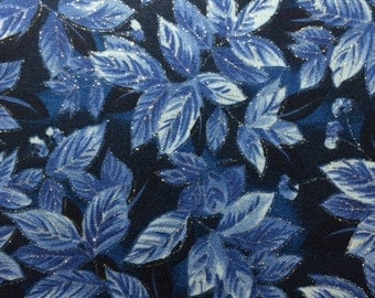 Timeless Treasures ICE (BLUE LEAVES) 100% Premium Quality Cotton Fabric-Per 1/2 Yard