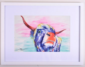 "Original Abstract Animal ""cow"" Print on fine art cotton paper - ""Salma""  - Modern style wall art by Aidan Weichard"