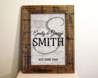 Custom Family Name Sign in Dark & Light Brown. Custom Signs. Reclaimed Wood Frame. Established Family Sign. Rustic. Wedding Gift. 12x16