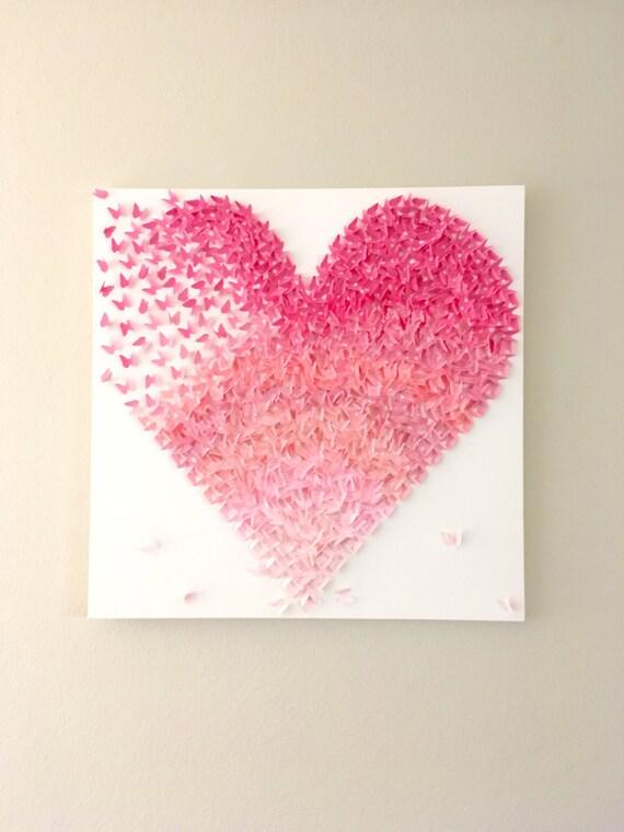 Schmetterling herz rosa ombre leinwand handgemachte von lovecreator
