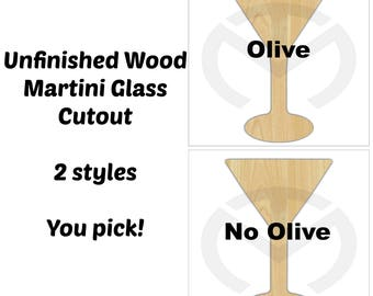 Unfinished Wood Martini Glass Laser Cutout, Wreath Accent, Door Hanger, Ready to Paint & Personalize, Various Sizes, With or without Olive