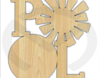 Unfinished Wood POOL Wall/Door Decoration, Laser-Cut, Various Sizes, Door Decor, Summer, Pool Party