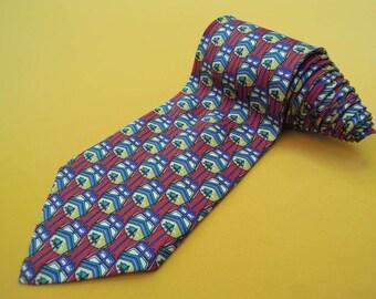 Lancel Tie Pure Silk Ship Repeat Pattern Red Vintage Designer Dress Necktie Made In France
