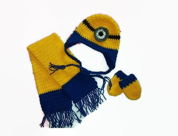 Iloveminionsclub Boys Winter Minion Set Crochet Minion Hat And
