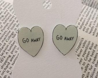 Go Away Conversation Heart Stud Earrings