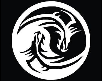 Yin Yang Dragon Tribal Vinyl Decal / Sticker 2(TWO) Pack