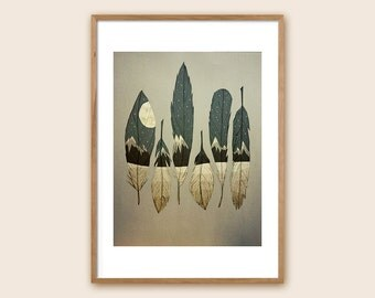"Feather Art Print: ""The Birds of Winter"""