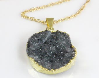 Gray Druzy Quartz Pendant Necklace on a 14 karat Gold Filled Chain