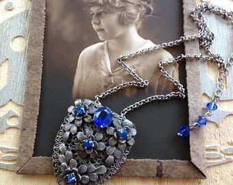Art Deco sapphire rhinestone dress clip necklace, Gatsby, 1930s, 1920s wedding, rustic wedding, OOAK, original, something blue bridal