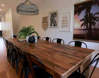 Large 3 Metre Dining Table Setting And Optional Bench Seats Rustic Recycled Reclaimed