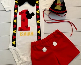 Custom Personalized Smash Cake Mickey Mouse Birthday Outfit with Hat Shorts with Buttons