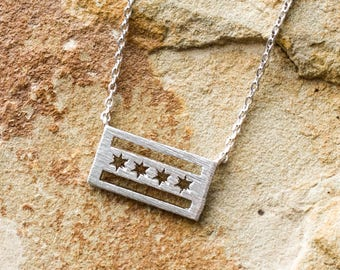 Silver Chicago Flag Necklace