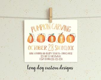 Pumpkin Carving Party Invitation - Digital 5x7
