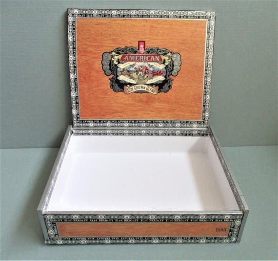 American sun grown blend cigar box wood look paper covered for Cardboard cigar box crafts