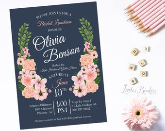 Navy & Pink Floral Wedding Shower Invitation