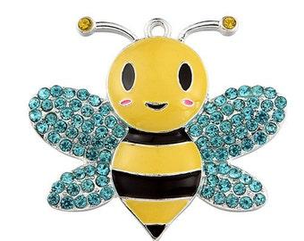1 X Bumblebee Chunky Bead Bubblegum Rhinestone Pendant