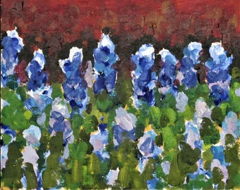 "Bluebonnets,  Original Landscape Painting,  8"" x 10"" x 1.5"" Cradled Panel, Free Shipping within USA"