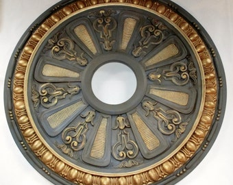 ceiling medallion hand painted ceiling medallion painted ceiling medallion chandelier medallion gold - Ceiling Medallion