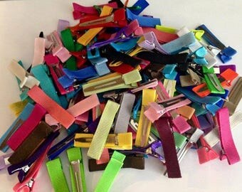 50 Partially Lined Alligator Clips, Solid Color Lined Clips, Clips for Bow Making, Hair Clips