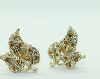 Vintage Pair of Kramer Silver Tone and Rhinestone Leaf Earrings