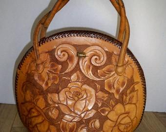Vintage tooled leather purse, tooled leather handbag, round tooled leather purse