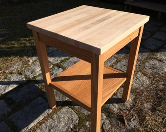 Butcher Block End Table with Shelf