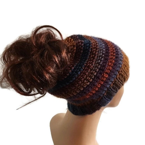 Crochet Messy Bun Hat : Crochet Messy Bun Hat Pony Tail Hat Jogging Hat Running Hat Made to ...