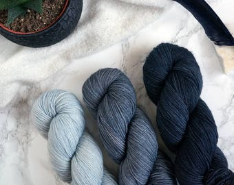 Gradient yarn set, hand dyed sock yarn, hand dyed yarn, handgefärbte wolle, sockenwolle, gift for wife, DYED TO ORDER - Metal