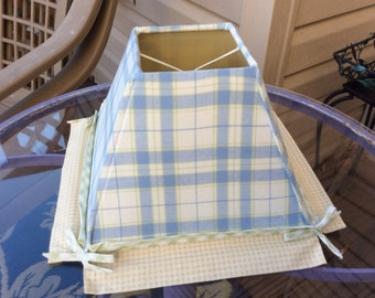 Vintage Blue Plaid Lamp Shade, Blue and Yellow Plaid, Boy's Nursery, Shabby Chic, Clip on Shade