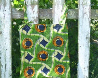 Batik Green Fabric Tote Bag Green Eco Friendy Reuseable Cotton Shopping Book  Recycle  Upcycled