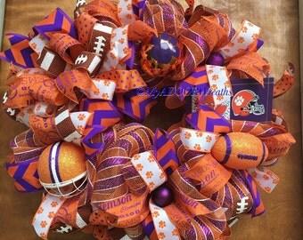 Clemson Wreath- Clemson Tigers Deco Mesh Wreath- Clemson University Wreath- Clemson Sports Wreath- Collegiate ACC Wreath- Purple Orange Deco