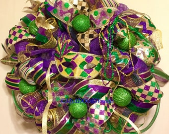 Whimsical Harlequin Mardi Gras Wreath, Fat Tuesday Decor, Mardi Gras Deco Mesh Wreath, Jester Mask Mardi Gras Wreath, Mardi Gras Harlequin
